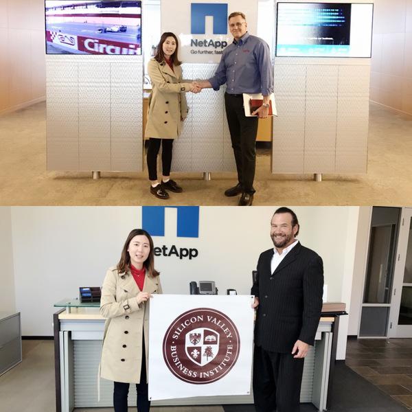 硅谷商学院负责人马银洁女士 与NetApp副总裁Howe先生、数据研发总监合影